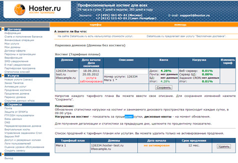 панель управления hoster.ru