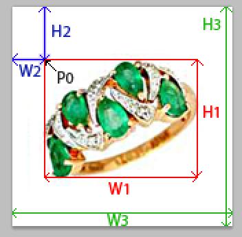 схема координат поиска размеров изображения